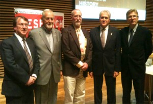 picture of Prof. Jonathan Edmondson, Chair of the History Department; York University President and Vice-Chancellor Dr. Mamdouh Shoukri, Professor Marcel Martel, Avie Bennett Historica-Dominion Institute Chair in Canadian History from the Public History Workshop