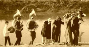 picture of Pollution Probe holding a funeral for the Don River in 1969.