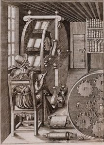 """The Book Wheel"" A. Ramelli, Le diverse et artificiose machine del Capitano Agostino Ramelli (1588) Image credit: http://smithsonianlibraries.tumblr.com/"