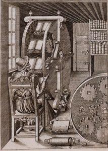"""""""The Book Wheel"""" A. Ramelli, Le diverse et artificiose machine del Capitano Agostino Ramelli (1588) Image credit: http://smithsonianlibraries.tumblr.com/"""