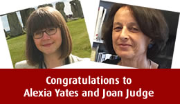 Congratulations to Alexia Yates and Joan Judge