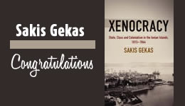 Congratulations Sakis Gekas - Xenocracy: State, Class, and Colonialism in the Ionian Islands, 1815-1864