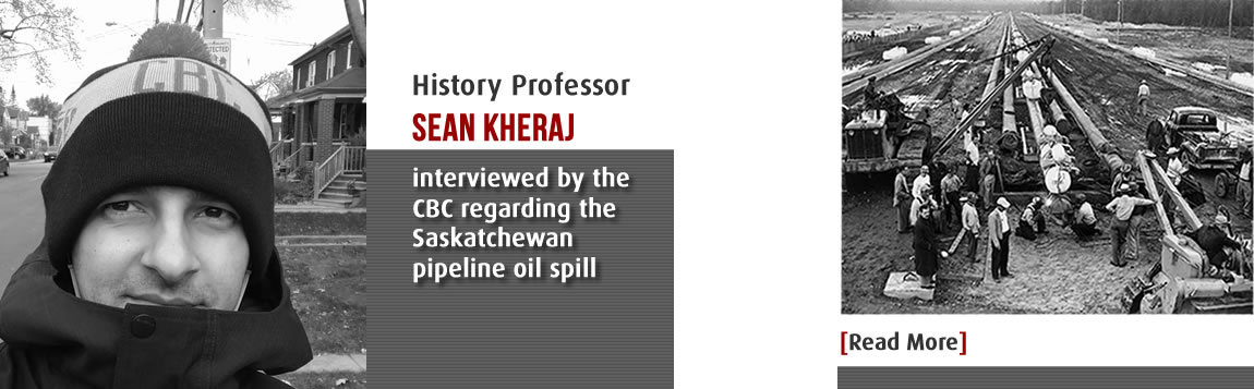 History Professor Sean Kheraj interviewed by the CBC regarding the Saskatchewan pipeline oil spill
