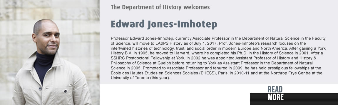 The Department of History Welcomes Edward Jones-Imhotep