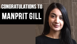 Congratulations to Manprit Gill