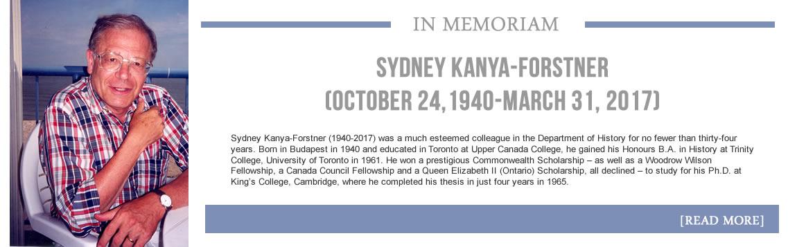 In Memoriam - Sydney Kanya-Forstner