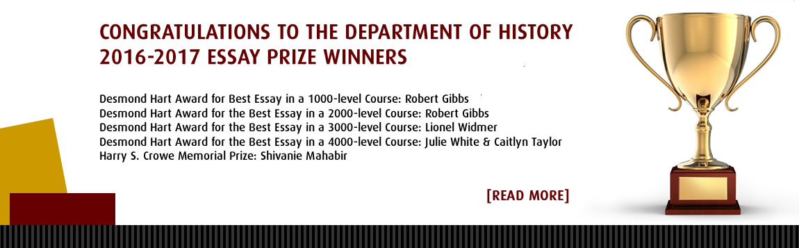Congratulations to the 2016-2017 Department of History Essay Prize Winners
