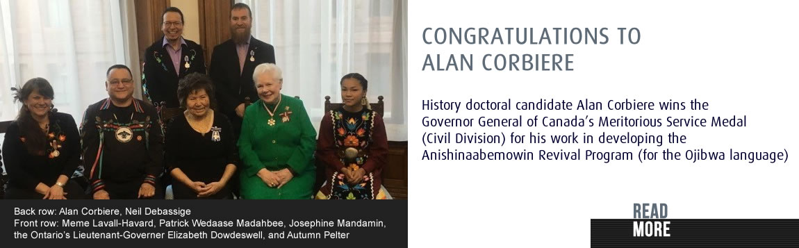Congratulations to Alan Corbiere - Governor General of Canada's Meritorious Service Medal