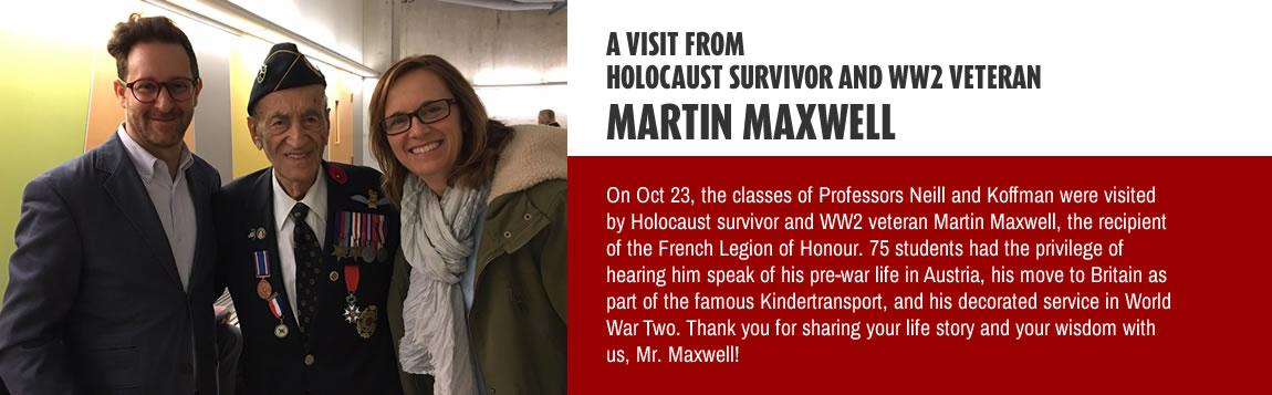 A Visit From Holocaust Survivor and WW2 Veteran Martin Maxwell
