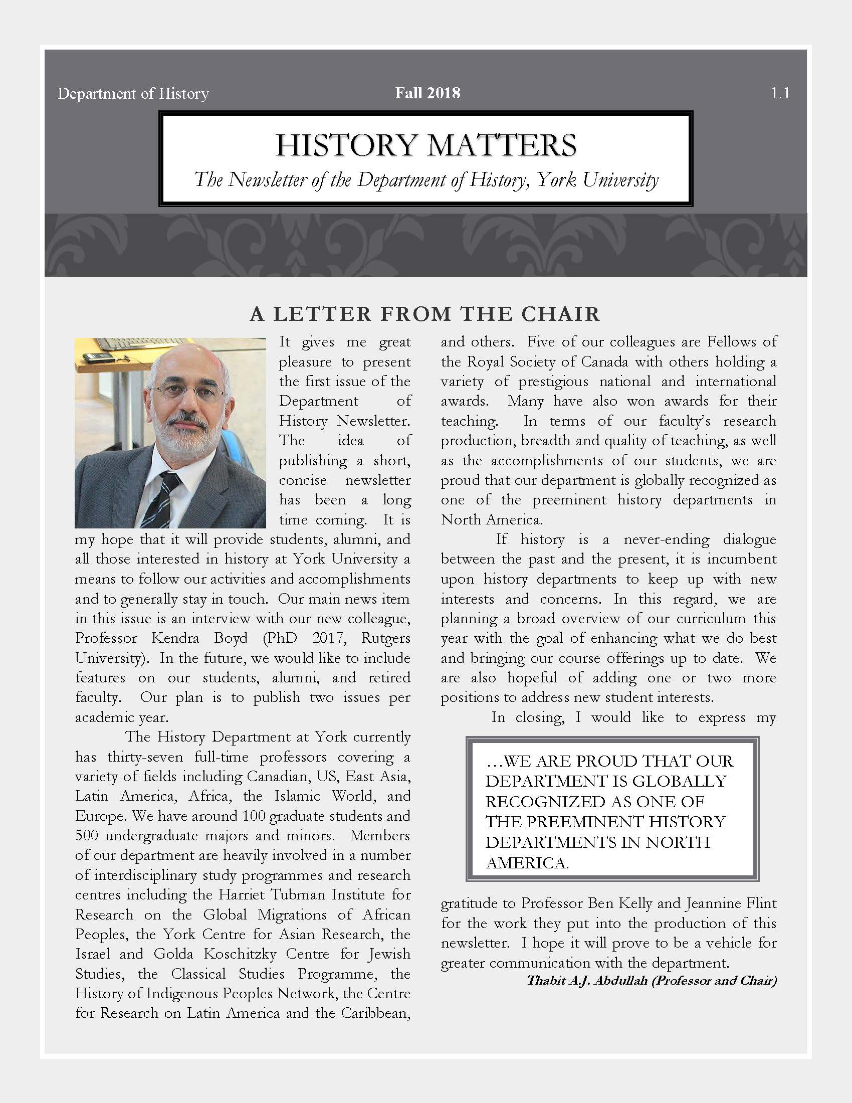 History Matters Newsletters - Fall 2018 Issue