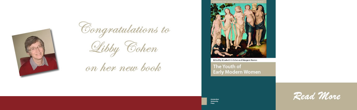 Congratulations to Libby Cohen on her new book: The Youth of Early Modern Women